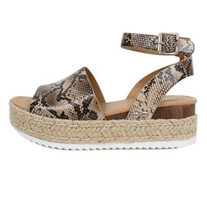 Shoes - Size 5.5 Natural Python Open Toe Halter Espadrill